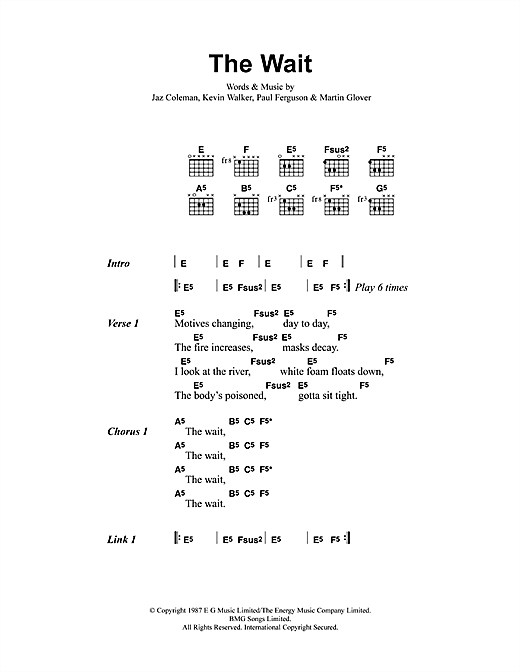 Metallica The Wait sheet music notes and chords