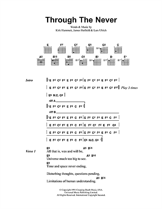 Metallica Through The Never sheet music notes and chords. Download Printable PDF.