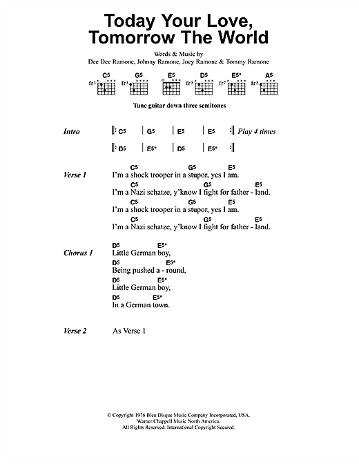 Metallica Today Your Love, Tomorrow The World sheet music notes and chords