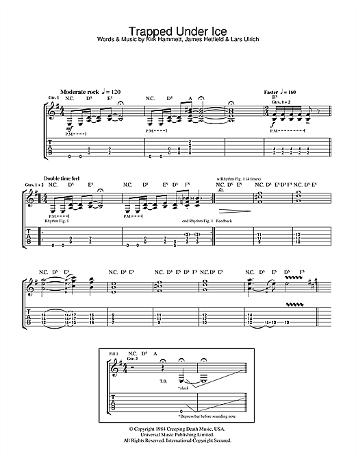 Metallica Trapped Under Ice sheet music notes and chords