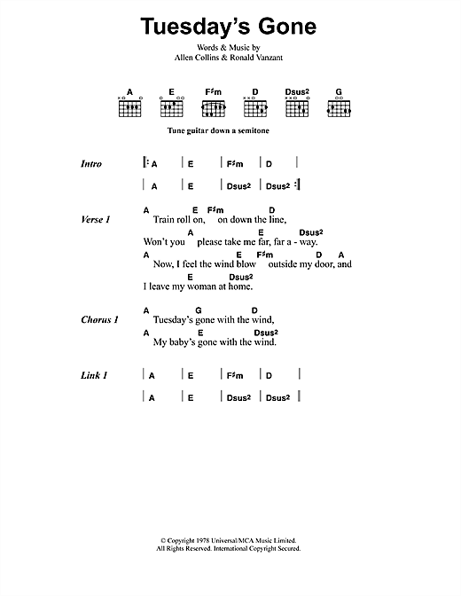 Metallica Tuesday's Gone sheet music notes and chords