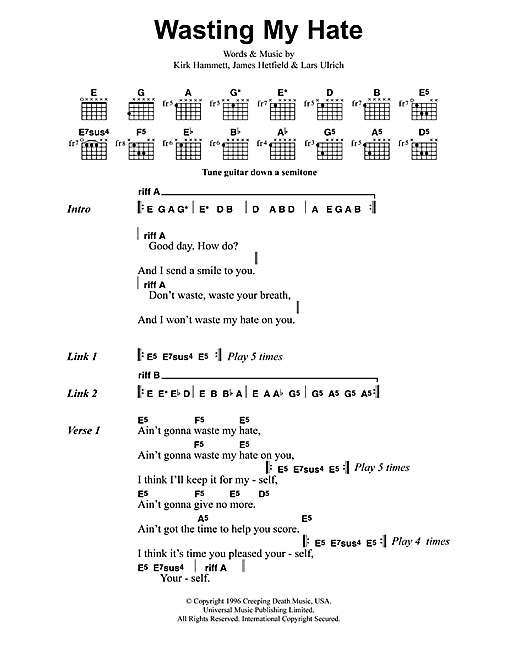 Metallica Wasting My Hate sheet music notes and chords