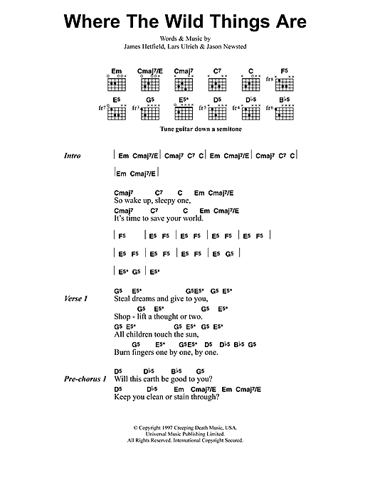 Metallica Where The Wild Things Are sheet music notes and chords. Download Printable PDF.