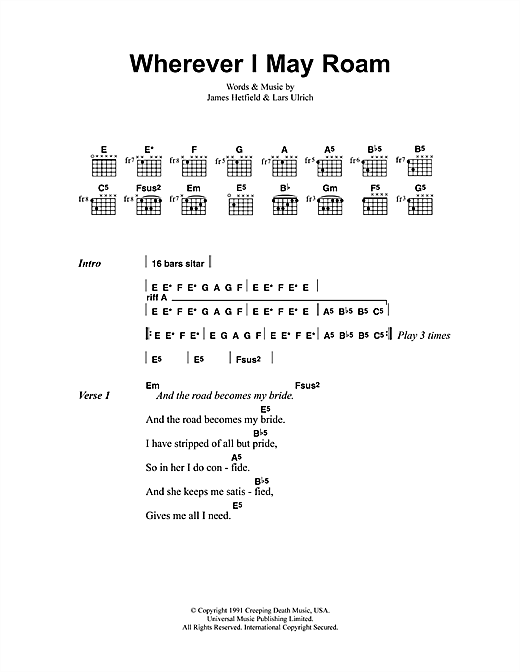 Metallica Wherever I May Roam sheet music notes and chords