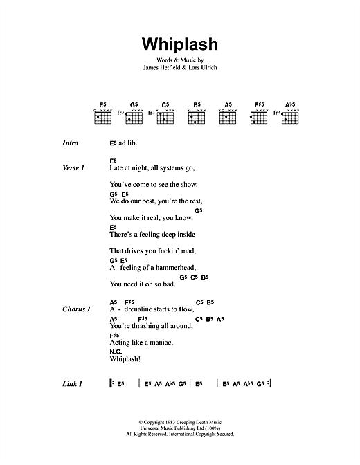 Metallica Whiplash sheet music notes and chords. Download Printable PDF.