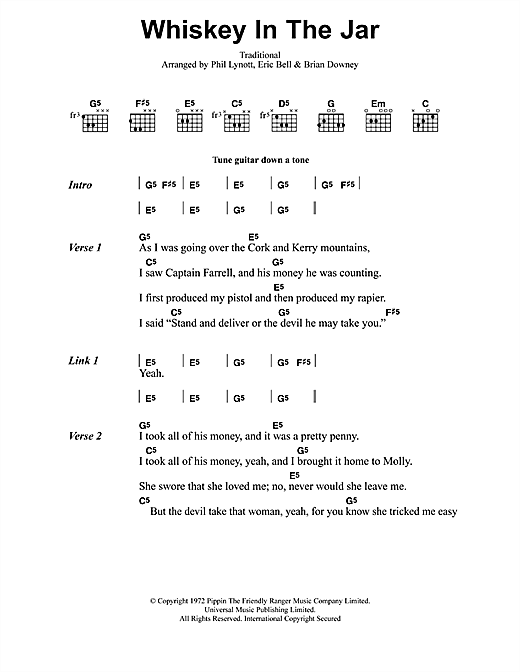 Metallica Whiskey In The Jar sheet music notes and chords