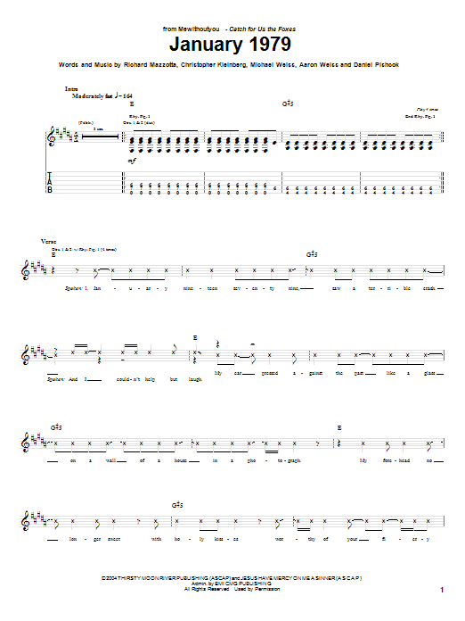 MewithoutYou January 1979 sheet music notes and chords. Download Printable PDF.