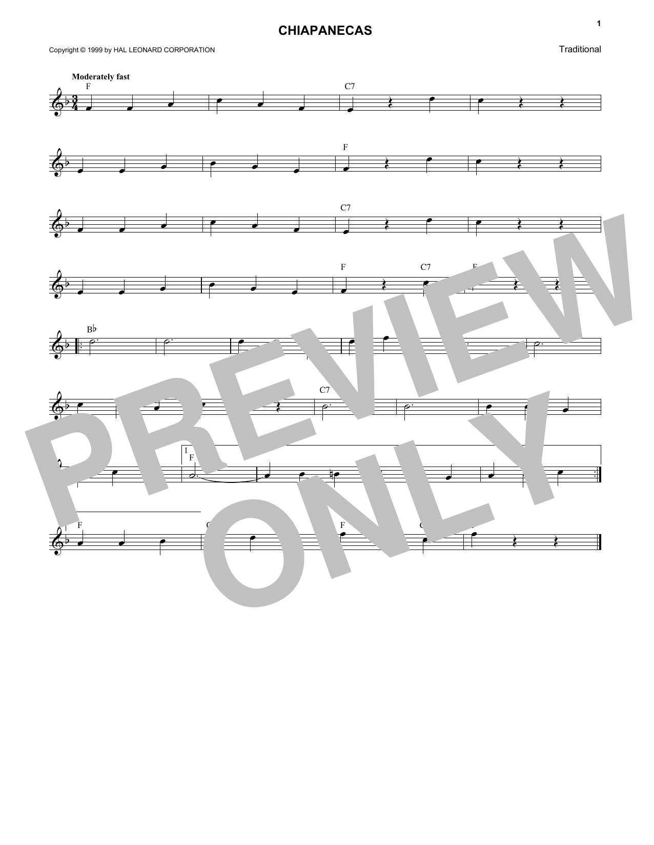 Mexican Folk Song Chiapanecas sheet music notes and chords. Download Printable PDF.