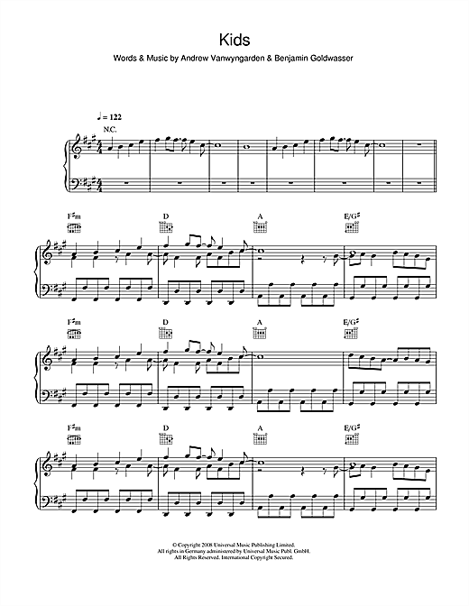 MGMT Kids sheet music notes and chords. Download Printable PDF.