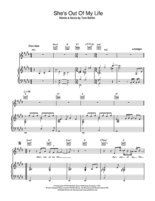 Michael Jackson She's Out Of My Life sheet music notes and chords. Download Printable PDF.