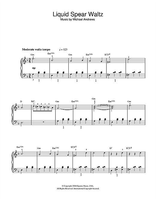 Michael Andrews Liquid Spear Waltz (from Donnie Darko) sheet music notes and chords. Download Printable PDF.