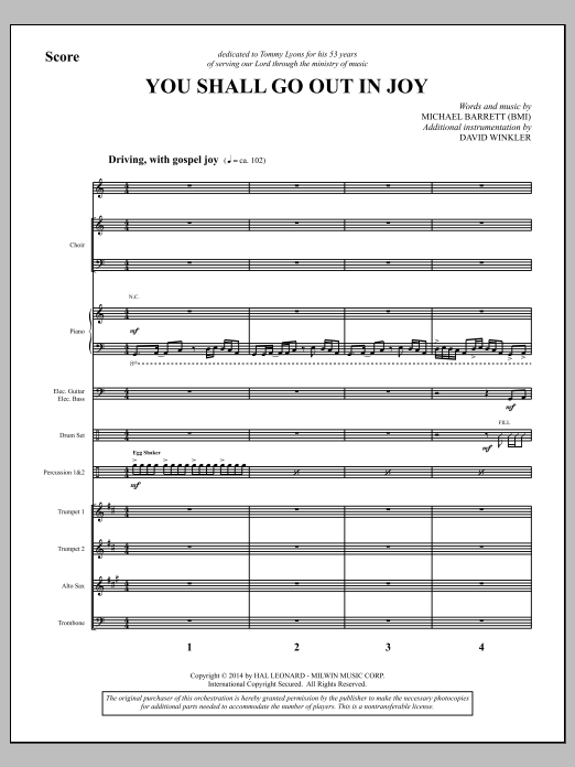 Michael Barrett You Shall Go Out in Joy - Full Score sheet music notes and chords. Download Printable PDF.