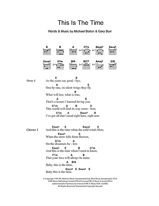 Michael Bolton This Is The Time sheet music notes and chords. Download Printable PDF.