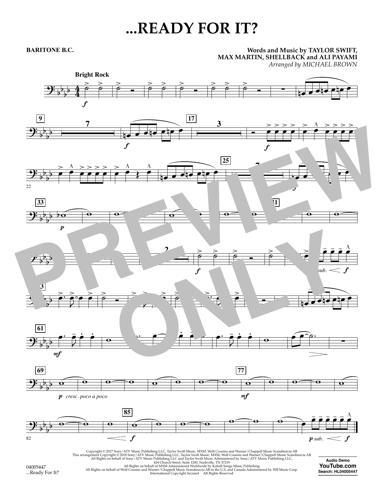 Michael Brown ...Ready for It? - Baritone B.C. sheet music notes and chords. Download Printable PDF.