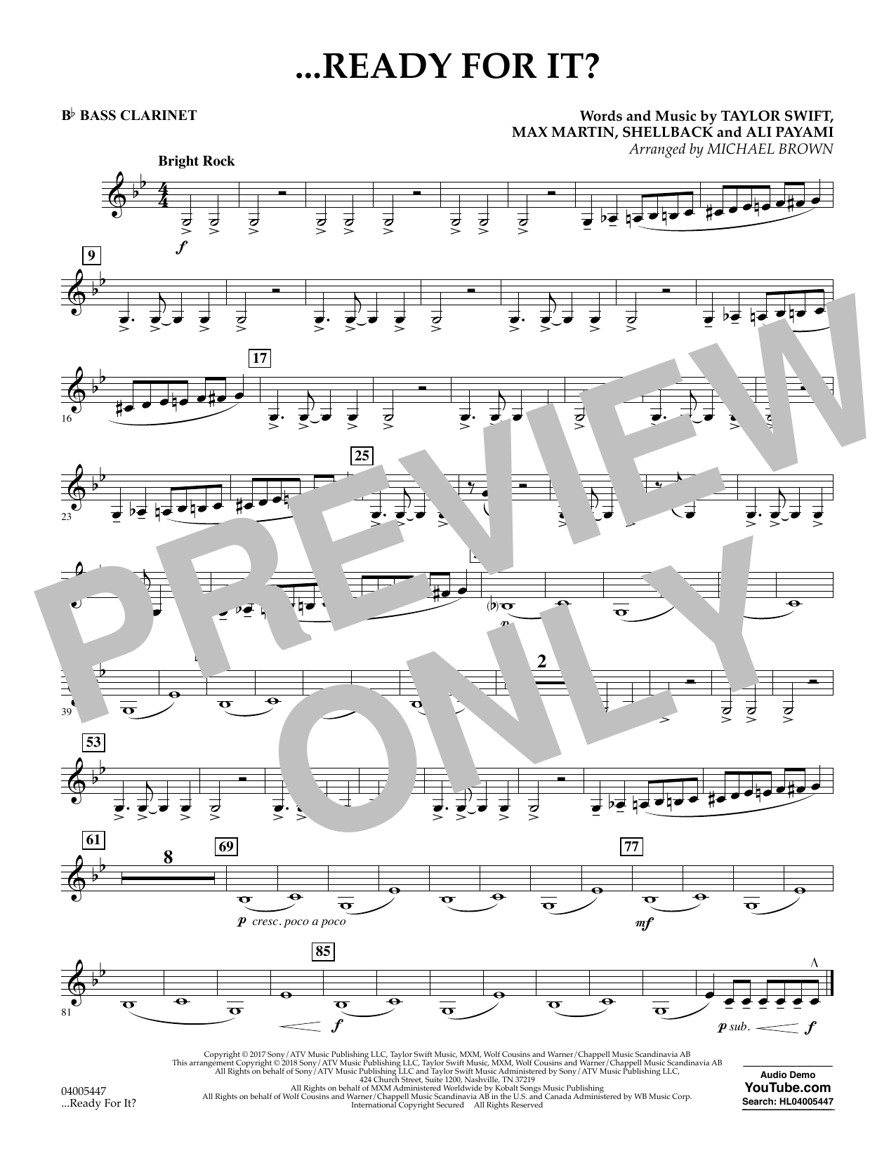 Michael Brown ...Ready for It? - Bb Bass Clarinet sheet music notes and chords. Download Printable PDF.