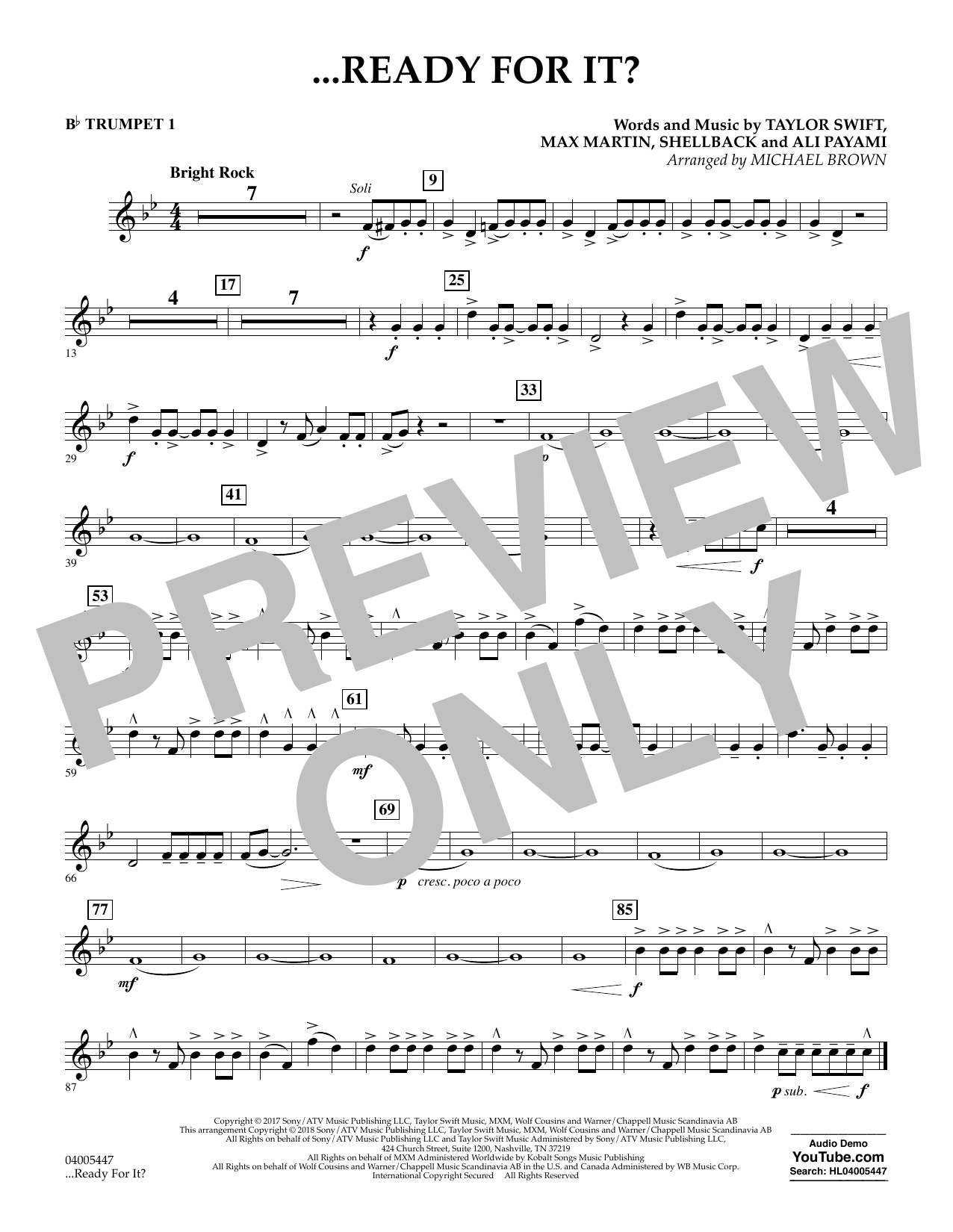 Michael Brown ...Ready for It? - Bb Trumpet 1 sheet music notes and chords. Download Printable PDF.