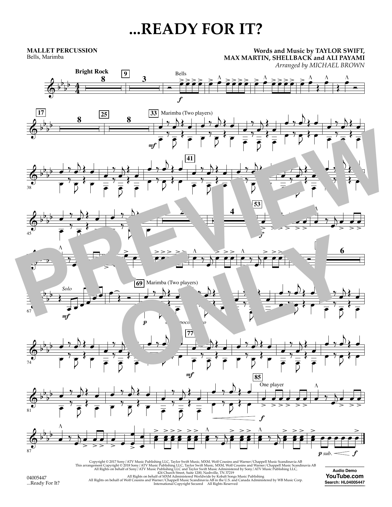 Michael Brown ...Ready for It? - Mallet Percussion sheet music notes and chords. Download Printable PDF.