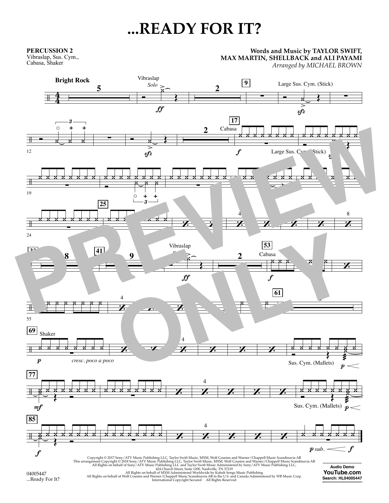 Michael Brown ...Ready for It? - Percussion 2 sheet music notes and chords. Download Printable PDF.