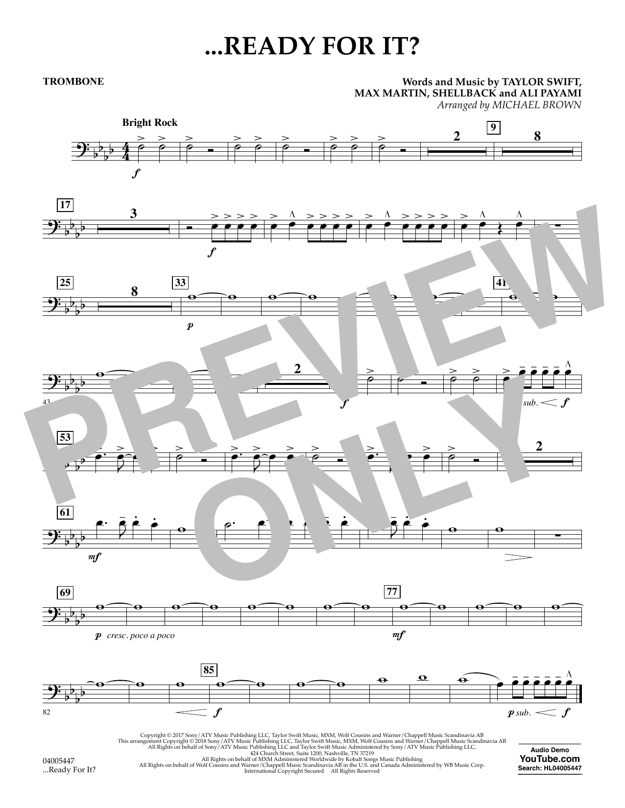 Michael Brown ...Ready for It? - Trombone sheet music notes and chords. Download Printable PDF.