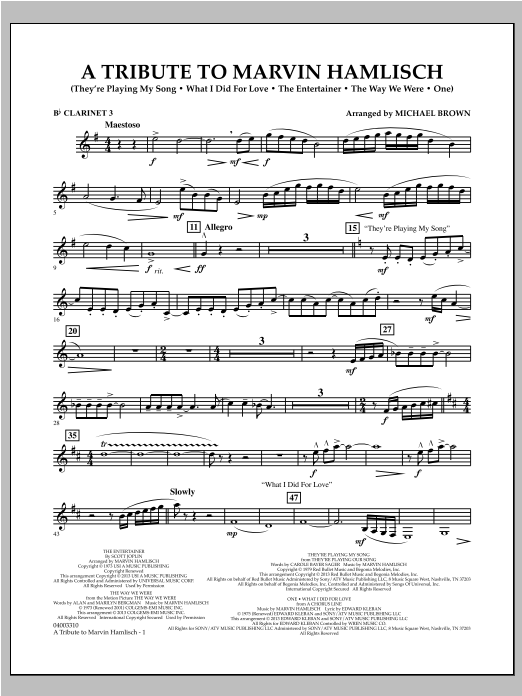 Michael Brown A Tribute To Marvin Hamlisch - Bb Clarinet 3 sheet music notes and chords. Download Printable PDF.