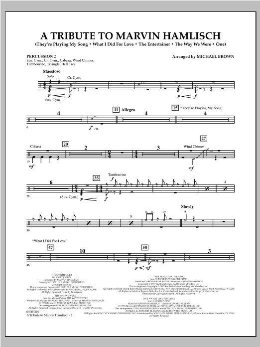 Michael Brown A Tribute To Marvin Hamlisch - Percussion 2 sheet music notes and chords. Download Printable PDF.