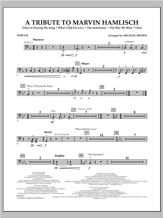 Michael Brown A Tribute To Marvin Hamlisch - Timpani sheet music notes and chords. Download Printable PDF.