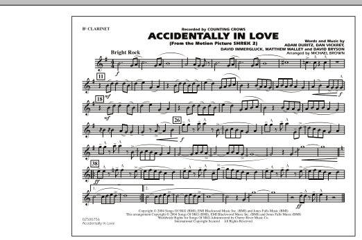Michael Brown Accidentally In Love - Bb Clarinet sheet music notes and chords. Download Printable PDF.