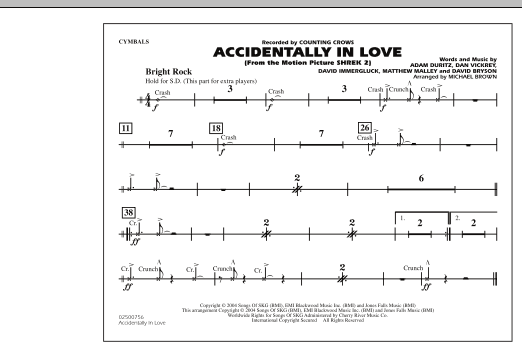 Michael Brown Accidentally In Love - Cymbals sheet music notes and chords