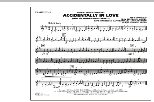 Michael Brown Accidentally In Love - Eb Baritone Sax sheet music notes and chords