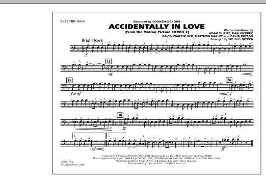 Michael Brown Accidentally In Love - Electric Bass sheet music notes and chords