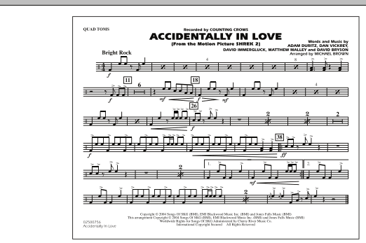 Michael Brown Accidentally In Love - Quad Toms sheet music notes and chords. Download Printable PDF.