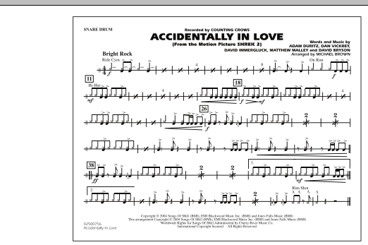 Michael Brown Accidentally In Love - Snare Drum sheet music notes and chords. Download Printable PDF.