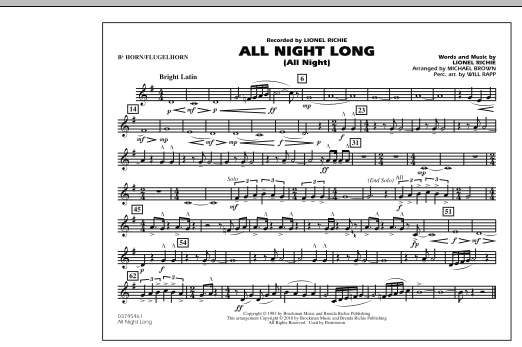 Michael Brown All Night Long (All Night) - Bb Horn/Flugelhorn sheet music notes and chords. Download Printable PDF.