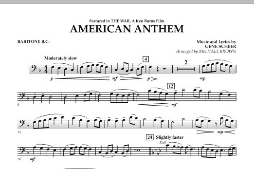 Michael Brown American Anthem (from The War) - Baritone B.C. sheet music notes and chords. Download Printable PDF.