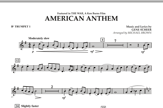 Michael Brown American Anthem (from The War) - Bb Trumpet 1 sheet music notes and chords. Download Printable PDF.