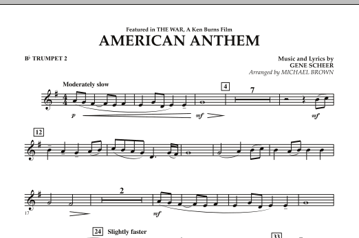 Michael Brown American Anthem (from The War) - Bb Trumpet 2 sheet music notes and chords. Download Printable PDF.