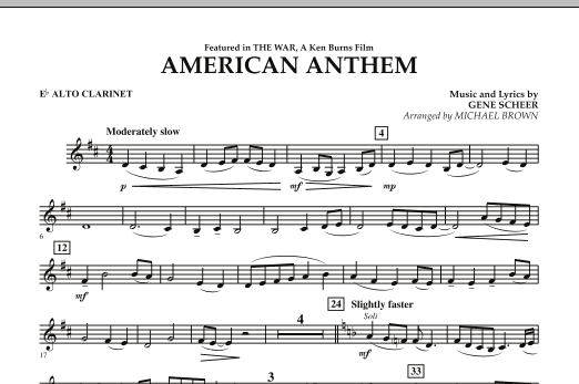 Michael Brown American Anthem (from The War) - Eb Alto Clarinet sheet music notes and chords. Download Printable PDF.