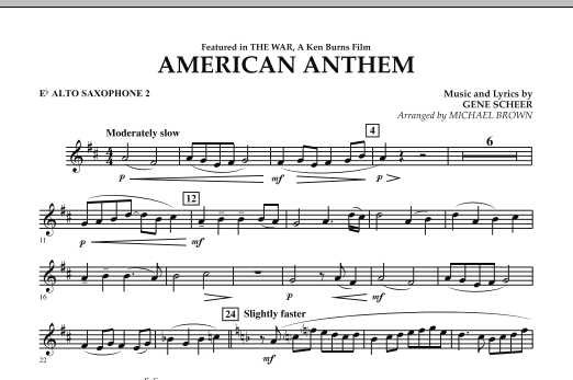 Michael Brown American Anthem (from The War) - Eb Alto Saxophone 2 sheet music notes and chords. Download Printable PDF.