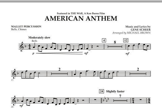 Michael Brown American Anthem (from The War) - Mallet Percussion sheet music notes and chords. Download Printable PDF.