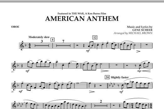 Michael Brown American Anthem (from The War) - Oboe sheet music notes and chords. Download Printable PDF.
