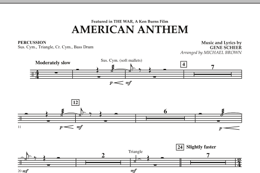 Michael Brown American Anthem (from The War) - Percussion sheet music notes and chords. Download Printable PDF.