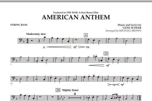 Michael Brown American Anthem (from The War) - String Bass sheet music notes and chords. Download Printable PDF.