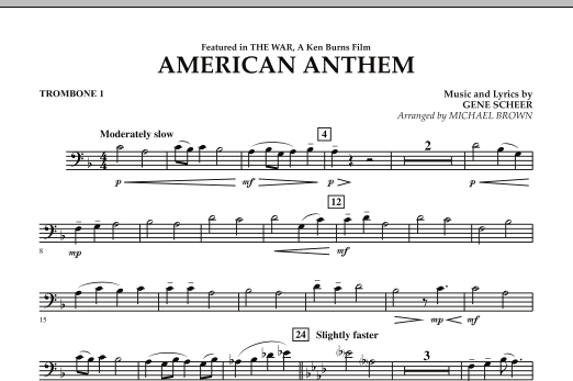 Michael Brown American Anthem (from The War) - Trombone 1 sheet music notes and chords. Download Printable PDF.