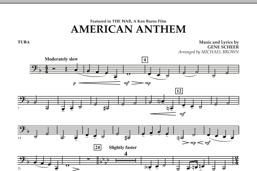 Michael Brown American Anthem (from The War) - Tuba sheet music notes and chords. Download Printable PDF.