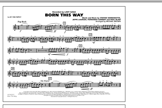 Michael Brown Born This Way - 1st Bb Trumpet sheet music notes and chords