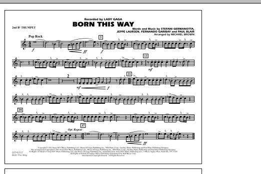 Michael Brown Born This Way - 2nd Bb Trumpet sheet music notes and chords. Download Printable PDF.
