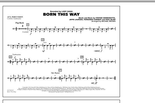 Michael Brown Born This Way - Aux Percussion sheet music notes and chords