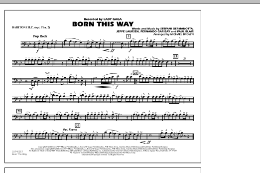 Michael Brown Born This Way - Baritone B.C. (Opt. Tbn. 2) sheet music notes and chords. Download Printable PDF.