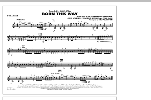 Michael Brown Born This Way - Bb Clarinet sheet music notes and chords. Download Printable PDF.