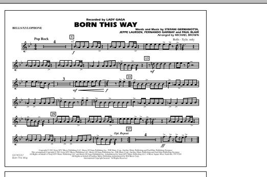 Michael Brown Born This Way - Bells/Xylophone sheet music notes and chords. Download Printable PDF.